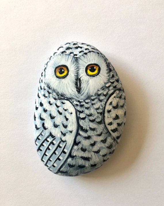 Snowy Owl Painted Rocks, Both Side Hand Painted Unique Owl Decoration for owl lovers