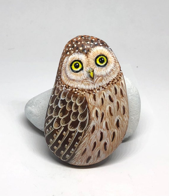 Burrowing Owl painted rock gifts for women , Owl painted rocks art for room decor, unique owl gifts, bird painted stones