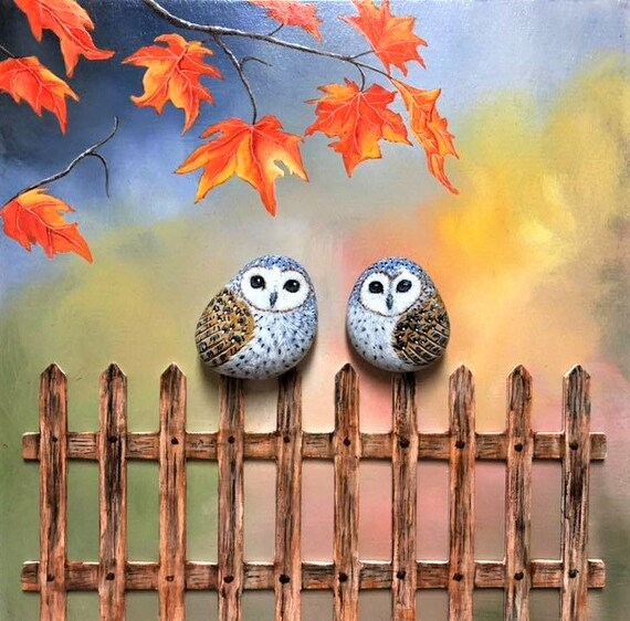 Owl in Autumn wall art, Unique owl gifts for women