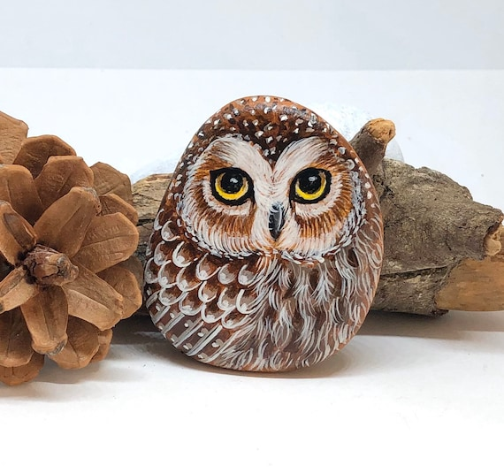 Saw Whet Owl Painted Rock Art, unique owl gifts and room decor, painted stones for garden decor