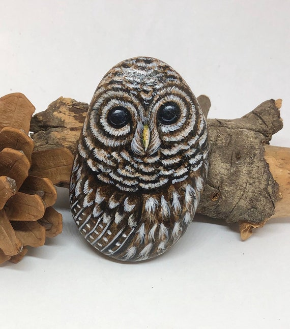 Barred Owl Painted Rock Art, unique owl painted stones for gift and room decor, painted stones for garden decor