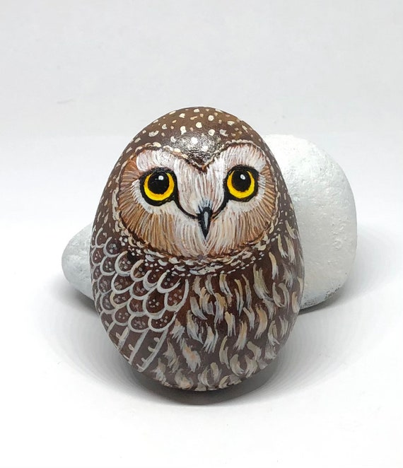 Small Saw Whet Owl Painted Rocks, unique owl gifts and room decor, painted stones for garden decor