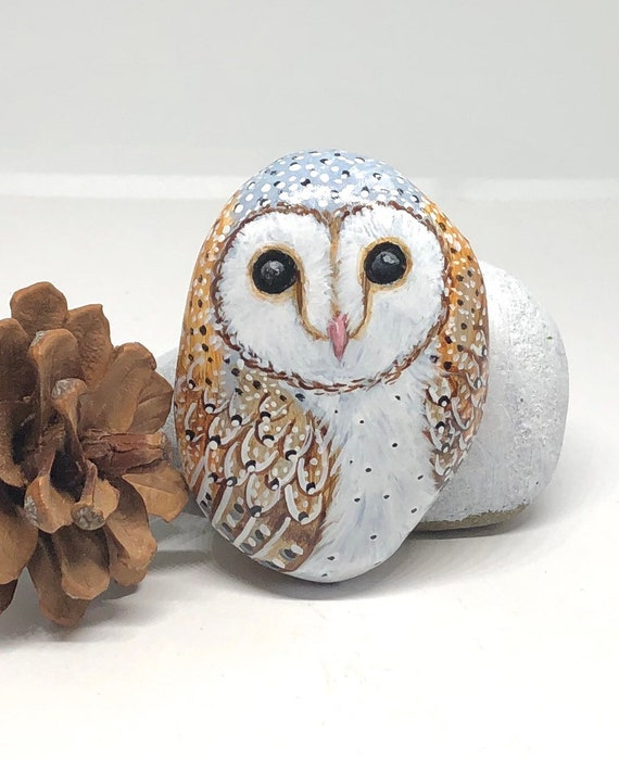 Barn Owl Hand Painted Rocks, All Sides Hand Painted Unique Stone Art for Owl Lovers