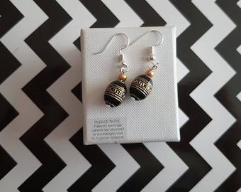 Black and gold detail handmade earrings