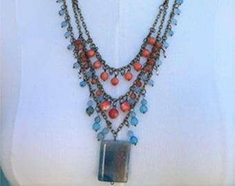 Boho Multi purpose Light Blue Fire Agate & Imperial Jasper Necklace and bracelet  by FTDofJanuaryJune