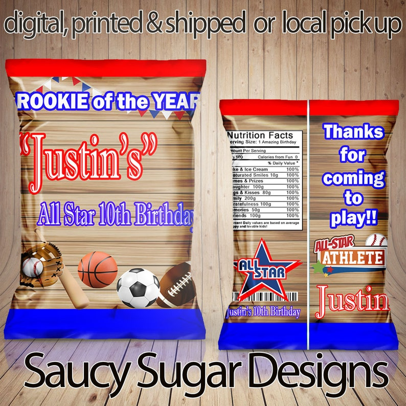 1d6cb336c3998 sports chips snack bags, all star custom bags , basketball favors, custom  chip bags, basketball party, party favors, all star