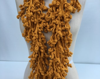 Mustard  Hand Crochet necklace/scarf
