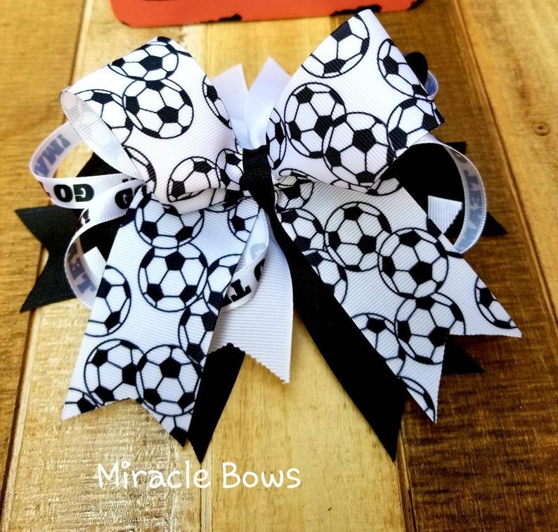 Baby Girls White Glitz Sports Football School Boutique Hair Bow Clip or Headband