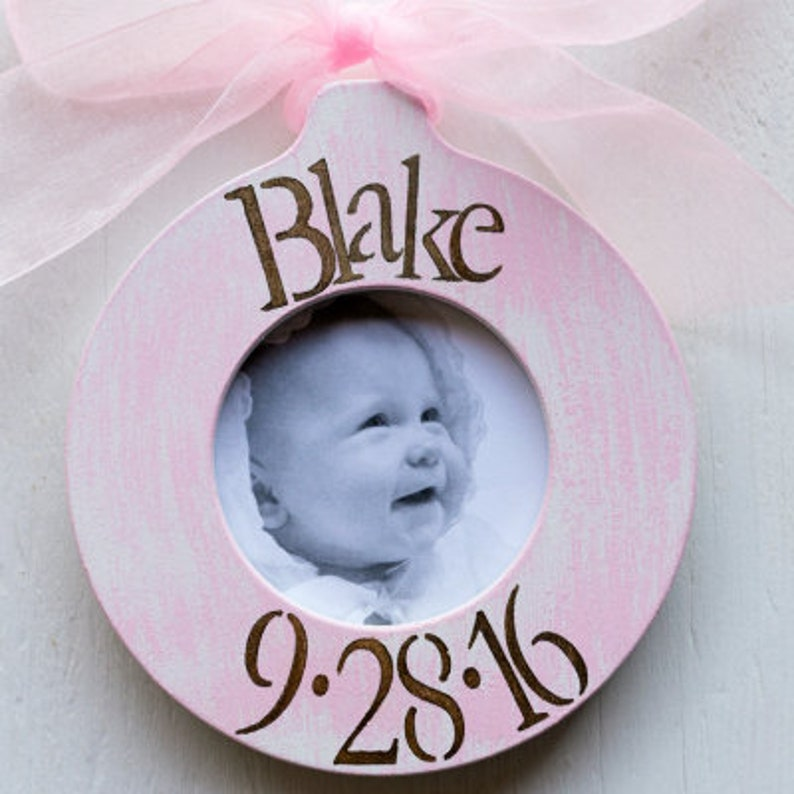 New Baby Soft Pink Stripes Monogram,Frame Ornament Baby Gift Idea Newborn Gift Personalized Baby Girl Picture Frame Ornament