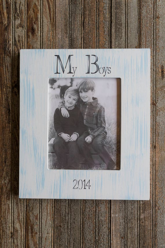 Personalized 8x10 Picture Frame Blue Stripes Frame Hand Etsy