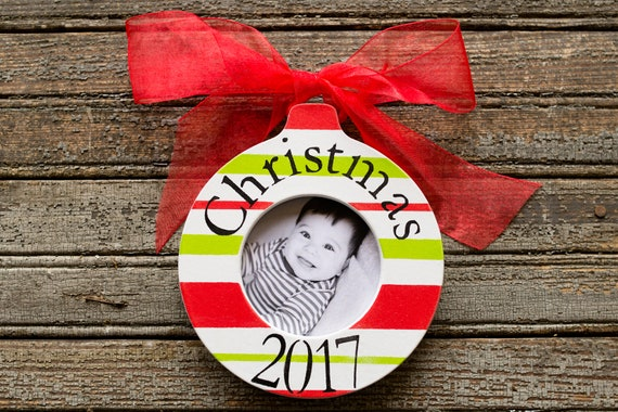 Ornament for Child Personalized Christmas Ornament Signature Stripes Keepsake circle Monogram Christmas Gift Picture Frame Ornament