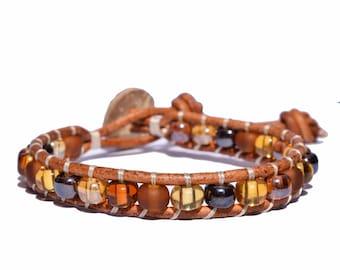 Leather Wrap Glass Beaded Bracelet