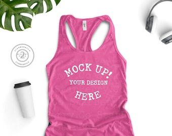 Download Free Next Level 1533 Hot Pink Ladies Ideal Racerback Tank, flat lay tank top, summer tank top, Tank Top Mockup, T Shirt MockUp, white background PSD Template