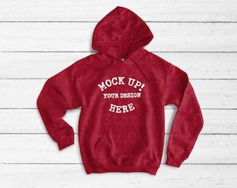 a8bc6e45 18500 Cardinal Red Blank Gildan, Unisex sweater mockup, Hooded Sweatshirt, Hoodie  Flat Lay, Christmas Sweatshirt mockup, white wall mockup