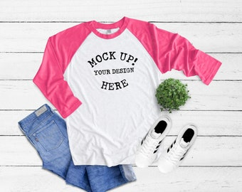 6051 Next Level Vintage Pink Unisex Tri Blend 3 4 Raglan Sleeve Mock Up Baseball Tee Mockup Heather White Flatlay Flatlays