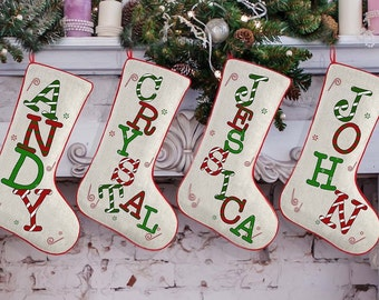 personalized christmas stocking boy baby girl monogram stocking personalized stockings family christmas stockings set of 2 3 4 5 6 7 8