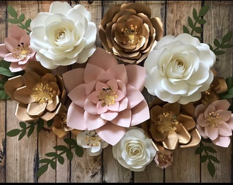 huge set of 12 flowers white blush and gold paper flowers for nursery room decor bridal shower backdrop wedding backdrop