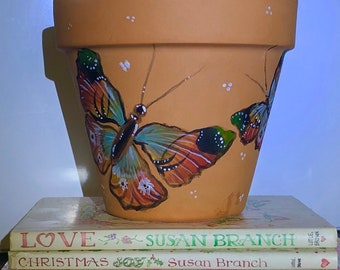 Butterfly painted pot