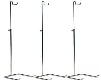 Single Hook Adjustable Chrome Handbag and Purse Display Stands (Set of 3)