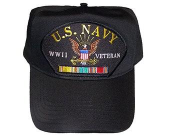 379158e3522 USN Navy WWII Veteran w  Ribbons Black Hat Cap