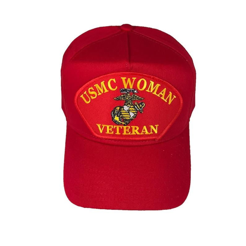 974e383bf82 USMC United States Marine Corps Woman Veteran Red Hat Cap