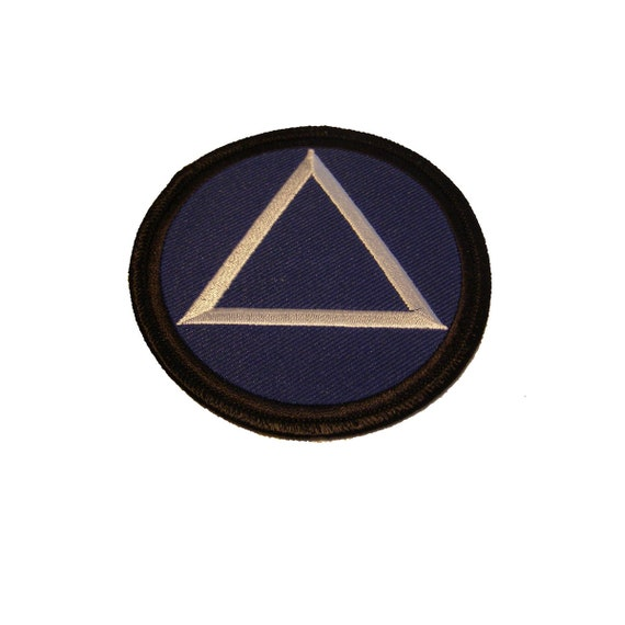 Alcoholics Anonymous Aa Circle Triangle Symbol Patch Blue And Etsy