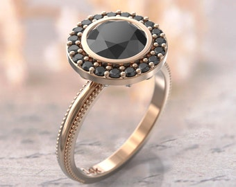 Black Diamond Ring Rose Gold Ring Teardrop Black Stone Etsy