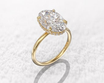 Hidden halo engagement ring 3 carat solitaire oval moissanite ring 12x8 mm oval 14k 1.5mm thin band & 0.11 ct Hidden halo diamond