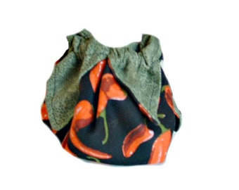 Lotus bag, Drawstring gift pouch, Homemade coin purse, Chili peppers pouch
