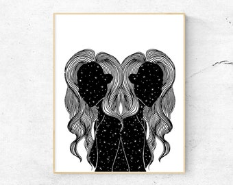 Outer Space Girl Illustration Poster Simple Cosmic Line art Wall Decor Universe Art Celestial Drawing Cosmic Train of Thoughts Art Print
