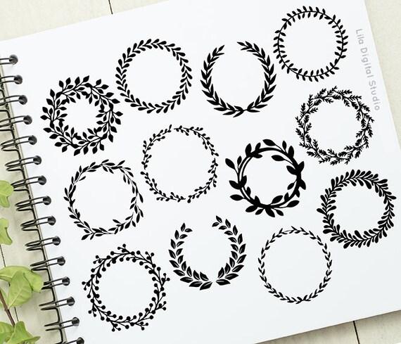 Hand Drawn Laurel Frame Clip Art Wreaths Floral Frames | Etsy