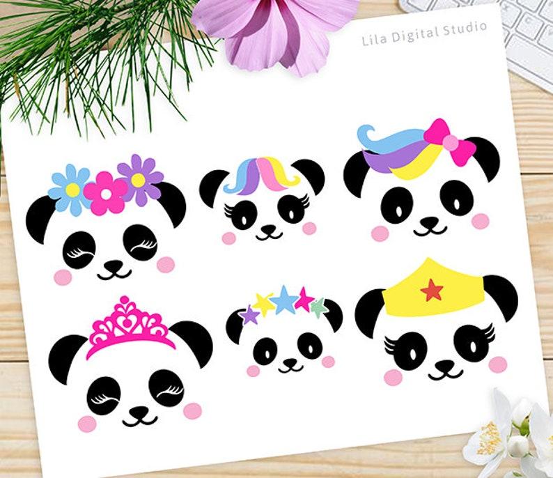 7522da78152b Panda Faces SVG Panda Bear Clipart Panda Vector Panda DXF