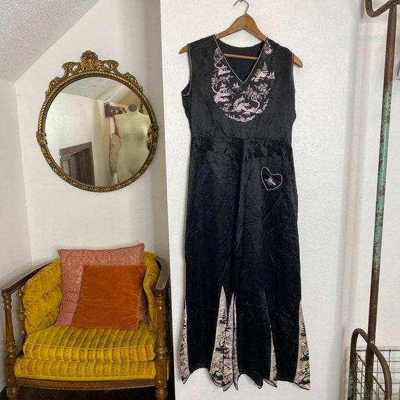 Silk 1930s Asian Bell Bottom Beach Pajamas - image 10