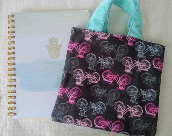 Small cotton hipster bicycle tote bag