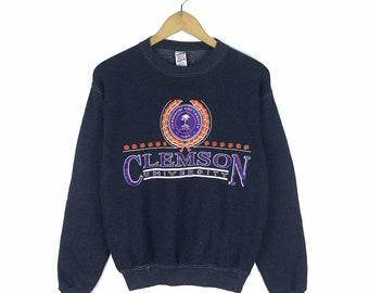 Vintage Clemson University Sweatshirt Crewneck Big Logo Pullover Jumper  Size S 63fbfabb7128