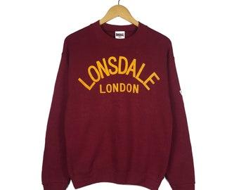 Vintage 90 s LONSDALE London Crewneck Sweatshirt Big Logo Spell out Pullover  Jumper Size S 3d617513f1