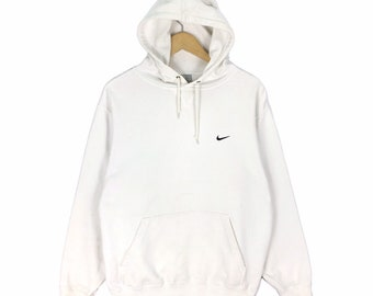 d3267e0b7369 Vintage Nike Swoosh Small Logo Hoodie Sweatshirt Embroidery Streetwear  Pullover Jumper Size M