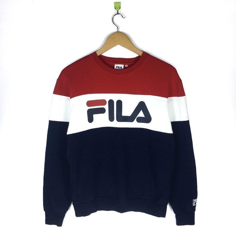 1a86be595139 Rare FILA Crewneck Sweatshirt Big Logo Colorblock Streetwear