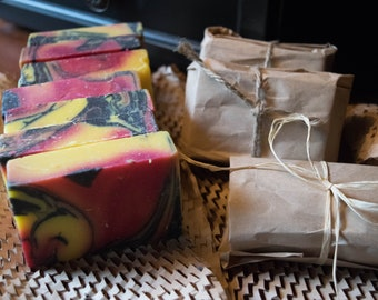 """Cold Processed, individually-wrapped """"Hippie,"""" earthy and natural soap"""