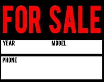 picture regarding Printable for Sale Sign for Car known as For Sale Electronic Indicator Obtain 8.5x11 inches JPEG and PDF Etsy