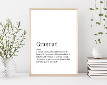 Prints Grandad Definition Birthday Gift Gifts For Unique