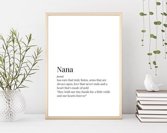 Prints Nana Print Definition Gift For Sign Birthday Best Ever Christmas