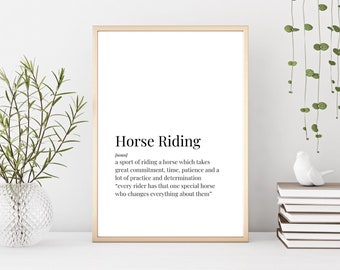 Prints, Horse Riding Print, Definition Print, Horse Gift, Horse Lover, Horseback Riding, Horse Riding Gift, Gift for Horse Lover, Wall Art