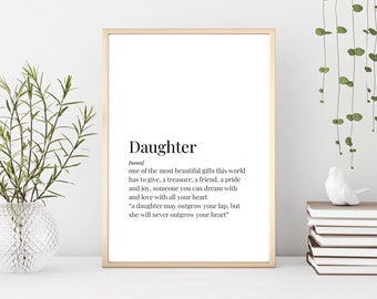 Prints Daughter Definition Birthday Gift For Decor