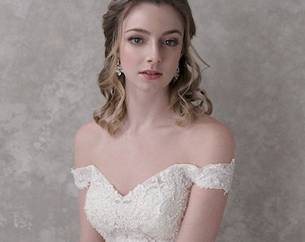White Embroidered Tulle Ball Gown with Off-Shoulder Detail