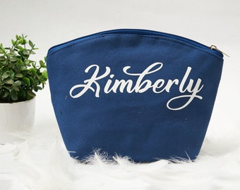 b8800831913f8a Navy Blue Makeup Bag-Cosmetic Bag-Bridesmaid Cosmetic Bag-Personalized Makeup  Bag-Wedding Favor-Bridesmaid Cosmetic Bag-Bridesmaid Proposal