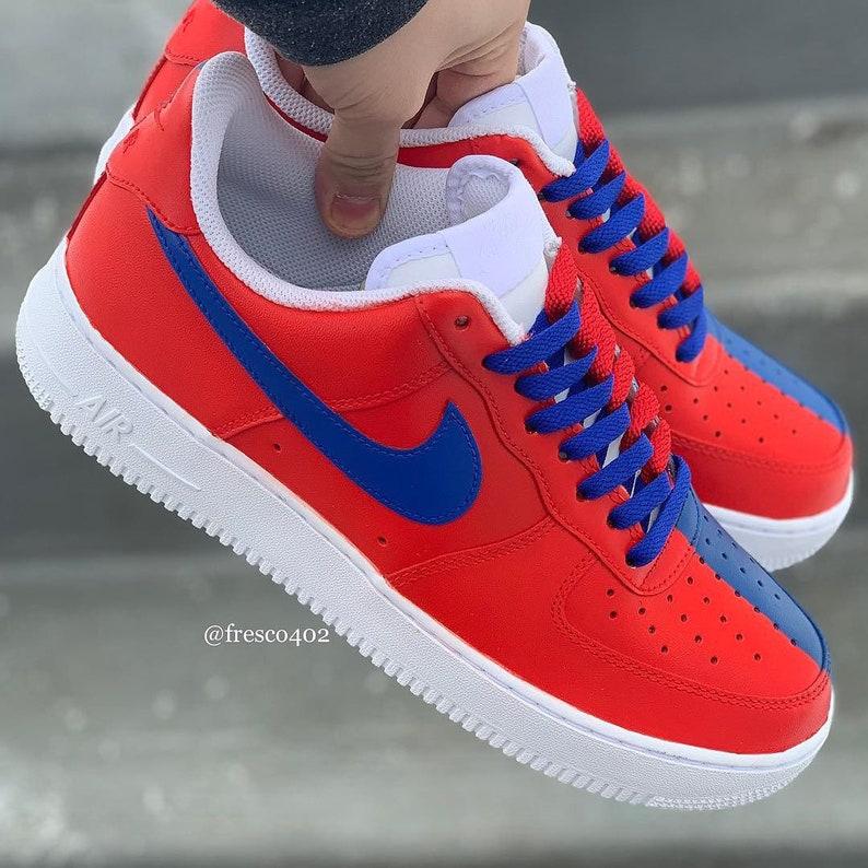 reputable site 518d1 27dfa Custom Nike Air Force 1s - Red/Blue Split