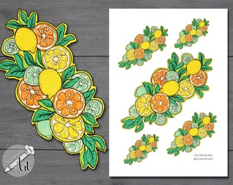 Back to School Stickers - Orange, lemon, lime printable stickers