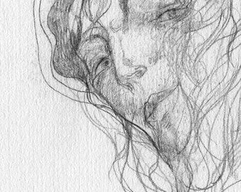 Look back. Portrait of a wrapped girl, drawn in a graphic style with a pencil on paper.