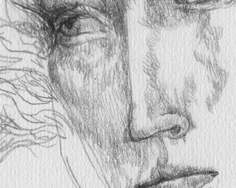 Melancholy. Portrait of a beautiful girl, drawn in a graphic style with a pencil on paper.